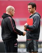 5 May 2018; Munster head coach Johann Van Graan, right and Edinburgh head coach Richard Cockerill,in conversation ahead of the Guinness PRO14 semi-final play-off match between Munster and Edinburgh at Thomond Park in Limerick. Photo by Sam Barnes/Sportsfile