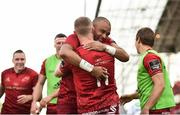 5 May 2018; Keith Earls of Munster is congratulated by Simon Zebo after scoring his sides second try during the Guinness PRO14 semi-final play-off match between Munster and Edinburgh at Thomond Park in Limerick. Photo by Sam Barnes/Sportsfile