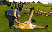 5 May 2018; Antrim forward Neil McManus is congratulated by Liam Sheedy after the Joe McDonagh Cup Round 1 match between Meath and Antrim at Pairc Táilteann in Navan, Co Meath. Photo by Ray McManus/Sportsfile