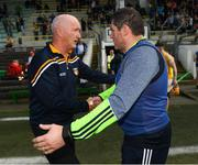 5 May 2018; Meath manager Nick Fitzgerald congratulates Antrim's Terence McNaughton, left, after the Joe McDonagh Cup Round 1 match between Meath and Antrim at Pairc Táilteann in Navan, Co Meath. Photo by Ray McManus/Sportsfile
