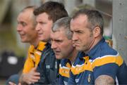 5 May 2018; Liam Sheedy, the former All Ireland winning manager with Tipperary, second from right, watches the game from the Antrim bench during the Joe McDonagh Cup Round 1 match between Meath and Antrim at Pairc Táilteann in Navan, Co Meath. Photo by Ray McManus/Sportsfile