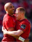 5 May 2018; Simon Zebo, left, and Keith Earls of Munster celebrate at the final whistle following the Guinness PRO14 semi-final play-off match between Munster and Edinburgh at Thomond Park in Limerick. Photo by Sam Barnes/Sportsfile