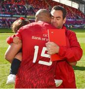 5 May 2018; Simon Zebo with Munster head coach Johann Van Graan following the Guinness PRO14 semi-final play-off match between Munster and Edinburgh at Thomond Park in Limerick. Photo by David Fitzgerald/Sportsfile