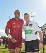 5 May 2018; Simon Zebo with Referee Nigel Owens following the Guinness PRO14 semi-final play-off match between Munster and Edinburgh at Thomond Park in Limerick. Photo by David Fitzgerald/Sportsfile