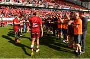 5 May 2018; Simon Zebo of Munster is applauded off the field by team mates following the Guinness PRO14 semi-final play-off match between Munster and Edinburgh at Thomond Park in Limerick. Photo by David Fitzgerald/Sportsfile