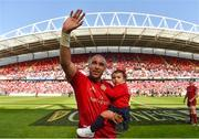 5 May 2018; Simon Zebo with daughter Sofia Zebo following the Guinness PRO14 semi-final play-off match between Munster and Edinburgh at Thomond Park in Limerick. Photo by David Fitzgerald/Sportsfile