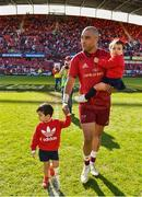 5 May 2018; Simon Zebo with son Jacob and daughter Sofia following the Guinness PRO14 semi-final play-off match between Munster and Edinburgh at Thomond Park in Limerick.  Photo by Sam Barnes/Sportsfile
