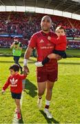 5 May 2018; An emotional Simon Zebo with son Jacob and daughter Sofia following the Guinness PRO14 semi-final play-off match between Munster and Edinburgh at Thomond Park in Limerick.  Photo by Sam Barnes/Sportsfile