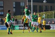 5 May 2018; Nathan Collins of Republic of Ireland shoots on goal during the UEFA U17 Championship Final match between Republic of Ireland and Belgium at Loughborough University Stadium in Loughborough, England. Photo by Malcolm Couzens/Sportsfile