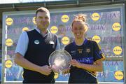 6 May 2018; Player of the match Aishling Moloney of Tipperary is presented with the trophy by Darren Molloy from Lidl after the Lidl Ladies Football National League Division 2 Final match between Cavan and Tipperary at Parnell Park in Dublin. Photo by Tom Beary/Sportsfile