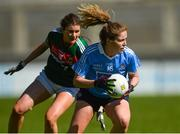 6 May 2018; Sinéad Finnegan of Dublin in action against Grace Kelly of Mayo during the Lidl Ladies Football National League Division 1 Final match between Dublin and Mayo at Parnell Park in Dublin. Photo by Piaras Ó Mídheach/Sportsfile