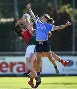 6 May 2018; Rachel Kearns of Mayo catches a high ball ahead of Noelle Healy of Dublin during the Lidl Ladies Football National League Division 1 Final match between Dublin and Mayo at Parnell Park in Dublin. Photo by Tom Beary/Sportsfile
