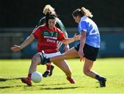 6 May 2018; Laura McGinley of Dublin has a shot at goal saved by Rachel Kearns of Mayo in action against / during the Lidl Ladies Football National League Division 1 Final match between Dublin and Mayo at Parnell Park in Dublin. Photo by Tom Beary/Sportsfile