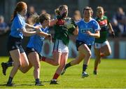 6 May 2018; Fiona McHale of Mayo in action against Dublin's, from left, Lauren Magee, Martha Byrne, and Leah Caffrey, before being fouled for penalty that was scored by team-mate Sarah Rowe during the Lidl Ladies Football National League Division 1 Final match between Dublin and Mayo at Parnell Park in Dublin. Photo by Piaras Ó Mídheach/Sportsfile