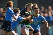 6 May 2018; Fiona McHale of Mayo in action against Dublin's, from left, Lauren Magee, Martha Byrne, and Leah Caffrey, before being awarded a penalty that was scored by team-mate Sarah Rowe during the Lidl Ladies Football National League Division 1 Final match between Dublin and Mayo at Parnell Park in Dublin. Photo by Piaras Ó Mídheach/Sportsfile
