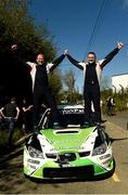 6 May 2018; Manus Kelly and Donall Barrett (Subaru Impreza WRC) celebrate after winning  at the end of special stage 16 Rossanean during Day Two of the 2018 Cartell.ie Rally of the Lakes, at Special Stage 16, Killarney, Co Kerry. Photo by Philip Fitzpatrick/Sportsfile
