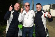 6 May 2018; Manus Kelly and Donall Barrett (Subaru Impreza WRC) with the clerk of the course Dermot Healy at the end of special stage 16 Rossanean during Day Two of the 2018 Cartell.ie Rally of the Lakes, at Special Stage 16, Killarney, Co Kerry. Photo by Philip Fitzpatrick/Sportsfile