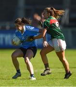 6 May 2018; Noëlle Healy of Dublin in action against Danielle Caldwell of Mayo during the Lidl Ladies Football National League Division 1 Final match between Dublin and Mayo at Parnell Park in Dublin. Photo by Piaras Ó Mídheach/Sportsfile