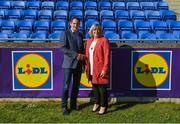 6 May 2018; Ladies Gaelic Football Association President Marie Hickey and Lidl Ireland Managing Director JP Scally pictured at Parnell Park as the LGFA and Lidl announced a three-year extension of the deal which sees Lidl proudly positioned as the LGFA's official retail partner, and title sponsors of the National Leagues. Following the phenomenal success of the partnership established in 2016 between Lidl Ireland and the LGFA, Lidl has proudly announced a further €3 million investment in Ladies Gaelic Football. Lidl Ladies Football National League Division 1 Final match between Dublin and Mayo at Parnell Park in Dublin. Photo by Piaras Ó Mídheach/Sportsfile