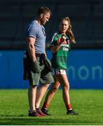 6 May 2018; Sarah Rowe of Mayo and Leinster and Ireland rugby player Sean O'Brien after the Lidl Ladies Football National League Division 1 Final match between Dublin and Mayo at Parnell Park in Dublin. Photo by Piaras Ó Mídheach/Sportsfile