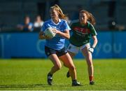 6 May 2018; Jennifer Dunne of Dublin in action against Sarah Tierney of Mayo during the Lidl Ladies Football National League Division 1 Final match between Dublin and Mayo at Parnell Park in Dublin. Photo by Piaras Ó Mídheach/Sportsfile