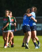 6 May 2018; Dublin's Noëlle Healy, left, and Leah Caffrey celebrate at the final whistle after the Lidl Ladies Football National League Division 1 Final match between Dublin and Mayo at Parnell Park in Dublin. Photo by Piaras Ó Mídheach/Sportsfile