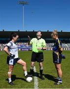 6 May 2018; Referee Stephen McNulty with team captain's Sinead Greene of Cavan and Samantha Lambert of Tipperary prior to the Lidl Ladies Football National League Division 2 Final match between Cavan and Tipperary at Parnell Park in Dublin. Photo by Tom Beary/Sportsfile