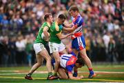 6 May 2018; Micheal McWeeney, left, and Paddy Maguire of Leitrim with Jamie Clarke, 11, and Luke Kelly of New York during the Connacht GAA Football Senior Championship Quarter-Final match between New York and Leitrim at McGovern Park at Gaelic Park in New York, USA. Photo by Stephen McCarthy/Sportsfile