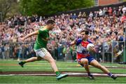 6 May 2018; Jamie Clarke of New York in action against Paddy Maguire of Leitrim during the Connacht GAA Football Senior Championship Quarter-Final match between New York and Leitrim at McGovern Park at Gaelic Park in New York, USA.Photo by Stephen McCarthy/Sportsfile