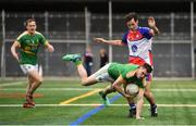 6 May 2018; Paddy Maguire of Leitrim in action against Jamie Clarke of New York during the Connacht GAA Football Senior Championship Quarter-Final match between New York and Leitrim at Gaelic Park in New York, USA. Photo by Stephen McCarthy/Sportsfile