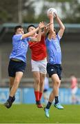 7 May 2018; Mark Lavin, right, and Enda Cashman of Dublin, left, in action against Cathal Flemming of Louth during the Electric Ireland Leinster GAA Football Minor Championship Round 1 match between Dublin and Louth at Parnell Park in Dublin. Photo by Seb Daly/Sportsfile