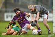 7 May 2018; Wexford goalkeeper Mary Rose Kelly and team-mate Niamh Mernagh in action against Niamh O'Sullivan of Meath during the Lidl Ladies Football National League Division 3 Final match between Meath and Wexford at St Brendan's Park, in Birr, Offaly. Photo by Piaras Ó Mídheach/Sportsfile