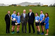 8 May 2018; In attendance during the announcement of the renewal of AIG's sponsorship deal with Dublin GAA, Dublin LGFA and Dubin Camogie, are, from left, John Gillick, Head of Direct Marketing and Sponsorship, AIG Ireland, Declan O'Rourke, General manager AIG Ireland, John Costello, Dublin GAA Chief Executive and Louis Kidd, Head of Libaility and Financial Lines, AIG Ireland, with Dublin players, from left, John Small, Hannah Hegarty, Lyndsey Davey and Conal Keaney, at Beann Éadair GAA Club, in Balkill Rd, Howth, Dublin. Photo by Sam Barnes/Sportsfile