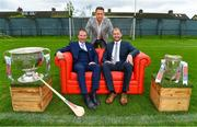 8 May 2018; Sky Sports today announced its GAA fixtures for the 2018 Championship from an event in Parnells GAA Club. A total of 20 live, and 14 exclusive, fixtures of Championship action will be available on Sky's multi-platform offering. Exclusive coverage gets underway with a mouth-watering double-header on June 2nd when 2017 All Ireland Hurling Champions Galway take on Wexford and Cork take on old rivals Limerick in what are bound to be hotly contested fixtures. Kilkenny's eight-time All-Ireland winner and three-time All Star, Michael Fennelly, will join a stellar line-up of GAA legends for Sky Sports' most exciting season of GAA coverage to date. This year will once again see insight and analysis across both codes from Tyrone hero Peter Canavan, former Mayo manager James Horan, former Donegal manager Jim McGuinness, former Dublin GAA star Senan Connell,  Clare's two-time All-Ireland champion Jamesie O'Connor, Kilkenny's nine-time All-Ireland winner JJ Delaney and four-time All-Star defender Ollie Canning. Lead commentary will come from Dave McIntyre and Mike Finnerty with co-commentary from Nicky English, new addition Mick Fennelly, Dick Clerkin and Paul Earley, and sideline reporting from Damian Lawlor. Pictured at the launch are, from left, hurling analysts Jamesie O'Connor, Michael Fennelly and JJ Delaney at Parnells GAA Club, Dublin. Photo by Brendan Moran/Sportsfile