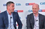 8 May 2018; Sky Sports today announced its GAA fixtures for the 2018 Championship from an event in Parnells GAA Club. A total of 20 live, and 14 exclusive, fixtures of Championship action will be available on Sky's multi-platform offering. Exclusive coverage gets underway with a mouth-watering double-header on June 2nd when 2017 All Ireland Hurling Champions Galway take on Wexford and Cork take on old rivals Limerick in what are bound to be hotly contested fixtures. Kilkenny's eight-time All-Ireland winner and three-time All Star, Michael Fennelly, will join a stellar line-up of GAA legends for Sky Sports' most exciting season of GAA coverage to date. This year will once again see insight and analysis across both codes from Tyrone hero Peter Canavan, former Mayo manager James Horan, former Donegal manager Jim McGuinness, former Dublin GAA star Senan Connell,  Clare's two-time All-Ireland champion Jamesie O'Connor, Kilkenny's nine-time All-Ireland winner JJ Delaney and four-time All-Star defender Ollie Canning. Lead commentary will come from Dave McIntyre and Mike Finnerty with co-commentary from Nicky English, new addition Mick Fennelly, Dick Clerkin and Paul Earley, and sideline reporting from Damian Lawlor. Speaking at the launch at Parnells GAA Club, Dublin are football analysts Senan Connell, left, and Peter Canavan. Photo by Brendan Moran/Sportsfile