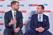 8 May 2018; Sky Sports today announced its GAA fixtures for the 2018 Championship from an event in Parnells GAA Club. A total of 20 live, and 14 exclusive, fixtures of Championship action will be available on Sky's multi-platform offering. Exclusive coverage gets underway with a mouth-watering double-header on June 2nd when 2017 All Ireland Hurling Champions Galway take on Wexford and Cork take on old rivals Limerick in what are bound to be hotly contested fixtures. Kilkenny's eight-time All-Ireland winner and three-time All Star, Michael Fennelly, will join a stellar line-up of GAA legends for Sky Sports' most exciting season of GAA coverage to date. This year will once again see insight and analysis across both codes from Tyrone hero Peter Canavan, former Mayo manager James Horan, former Donegal manager Jim McGuinness, former Dublin GAA star Senan Connell,  Clare's two-time All-Ireland champion Jamesie O'Connor, Kilkenny's nine-time All-Ireland winner JJ Delaney and four-time All-Star defender Ollie Canning. Lead commentary will come from Dave McIntyre and Mike Finnerty with co-commentary from Nicky English, new addition Mick Fennelly, Dick Clerkin and Paul Earley, and sideline reporting from Damian Lawlor. Speaking at the launch at Parnells GAA Club, Dublin are hurling analysts JJ Delaney, left, and Jamesie O'Connor. Photo by Brendan Moran/Sportsfile