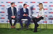 8 May 2018; Sky Sports today announced its GAA fixtures for the 2018 Championship from an event in Parnells GAA Club. A total of 20 live, and 14 exclusive, fixtures of Championship action will be available on Sky's multi-platform offering. Exclusive coverage gets underway with a mouth-watering double-header on June 2nd when 2017 All Ireland Hurling Champions Galway take on Wexford and Cork take on old rivals Limerick in what are bound to be hotly contested fixtures. Kilkenny's eight-time All-Ireland winner and three-time All Star, Michael Fennelly, will join a stellar line-up of GAA legends for Sky Sports' most exciting season of GAA coverage to date. This year will once again see insight and analysis across both codes from Tyrone hero Peter Canavan, former Mayo manager James Horan, former Donegal manager Jim McGuinness, former Dublin GAA star Senan Connell,  Clare's two-time All-Ireland champion Jamesie O'Connor, Kilkenny's nine-time All-Ireland winner JJ Delaney and four-time All-Star defender Ollie Canning. Lead commentary will come from Dave McIntyre and Mike Finnerty with co-commentary from Nicky English, new addition Mick Fennelly, Dick Clerkin and Paul Earley, and sideline reporting from Damian Lawlor. Speaking at the launch at Parnells GAA Club, Dublin are, from left, hurling analysts JJ Delaney and Jamesie O'Connor with presenter Rachel Wyse. Photo by Brendan Moran/Sportsfile