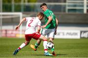 8 May 2018; Troy Parrott of Republic of Ireland in action against Mikkel Møller Lassen of Denmark during the UEFA U17 Championship Final match between Republic of Ireland and Denmark at St Georges Park in Burton, England. Photo by Malcolm Couzens/Sportsfile