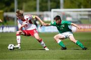 8 May 2018; Jeppe Pedersen of Denmark in action against Adam O'Reilly of Republic of Ireland during the UEFA U17 Championship Final match between Republic of Ireland and Denmark at St Georges Park in Burton, England. Photo by Malcolm Couzens/Sportsfile