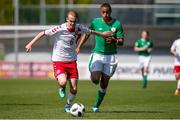 8 May 2018; Jacob Christensen of Denmark in action against Adam Idah of Republic of Ireland during the UEFA U17 Championship Final match between Republic of Ireland and Denmark at St Georges Park in Burton, England. Photo by Malcolm Couzens/Sportsfile