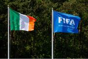 8 May 2018; The flags of Republic of Ireland and FIFA fly during the UEFA U17 Championship Final match between Republic of Ireland and Denmark at St Georges Park in Burton, England. Photo by Malcolm Couzens/Sportsfile