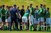 8 May 2018; Manager Colin O'Brien of Republic of Ireland talks to his team following the UEFA U17 Championship Final match between Republic of Ireland and Denmark at St Georges Park in Burton, England. Photo by Malcolm Couzens/Sportsfile