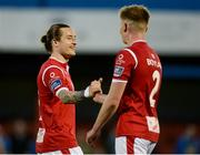 8 May 2018; Rhys McCabe, left, and Gary Boylan of Sligo Rovers celebrate at the final whistle of the EA Sports Cup Quarter-Final match between Sligo Rovers and Waterford at The Showgrounds, in Sligo. Photo by Oliver McVeigh/Sportsfile