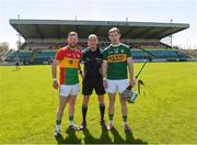 6 May 2018; Referee Justin Heffernan with Carlow captain Richard Coady, left, and Kerry captain Padraig Boyle during the Joe McDonagh Cup Round 1 match between Carlow and Kerry at Netwatch Cullen Park in Carlow.  Photo by Matt Browne/Sportsfile