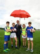 10 May 2018; Republic of Ireland manager, Martin O'Neill pictured with, from left, Caelem Tunstead age 12 from Bunscoil Réalt na Mara, Roisin McManus, age 12, from Scoil Cholmcille, Skryne, Meath, Elle Muprhy, age 12, from Scoil Cholmcille, Skryne, Meath and Charlie Bacon, age 12, from Bunscoil Réalt na Mara at the SPAR FAI Primary Schools 5s Programme Leinster Finals in the MDL Grounds, Navan, Co. Meath.  The six finalists will progress to the SPAR FAI Primary School 5s Programme National Finals in Aviva Stadium on May 30th. For further information please see www.SPAR.ie or www.FAIschools.ie Photo by Eóin Noonan/Sportsfile