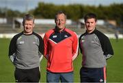 9 May 2018; Cork management, from left, Donal O'Mahony, selector, John Meyler, manager, and Kieran Murphy, selector during Cork Hurling Squad Portraits 2018 at Páirc Uí Rinn in Cork. Photo by Piaras Ó Mídheach/Sportsfile