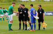 11 May 2018; Republic of Ireland captain Nathan Collins meets the officials ahead of the UEFA U17 Championship Finals Group C match between Bosnia & Herzegovina and Republic of Ireland at St George's Park, in Burton-upon-Trent, England. Photo by Malcolm Couzens/Sportsfile