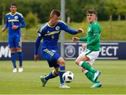 11 May 2018; Jason Knight of Republic of Ireland in action against Kristijan Stanic of Bosnia and Herzegovina during the UEFA U17 Championship Finals Group C match between Bosnia & Herzegovina and Republic of Ireland at St George's Park, in Burton-upon-Trent, England. Photo by Malcolm Couzens/Sportsfile
