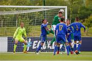 11 May 2018; Nathan Collins of Republic of Ireland wins a header in the build up to Republic of Ireland's disallowed goal during the UEFA U17 Championship Finals Group C match between Bosnia & Herzegovina and Republic of Ireland at St George's Park, in Burton-upon-Trent, England. Photo by Malcolm Couzens/Sportsfile