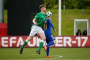 11 May 2018; Nathan Collins of Republic of Ireland in action against Armin Saric of Bosnia and Herzegovina during the UEFA U17 Championship Finals Group C match between Bosnia & Herzegovina and Republic of Ireland at St George's Park, in Burton-upon-Trent, England. Photo by Malcolm Couzens/Sportsfile